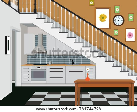 Interior Of The Kitchen Under The Stairs With Furniture. Design Of Modern  Kitchen. Symbol