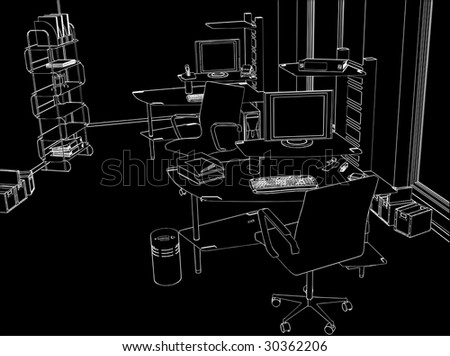 Interior Office Room Vector 01 - stock vector
