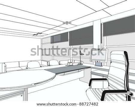 Interior Office Room Vector 05 - stock vector