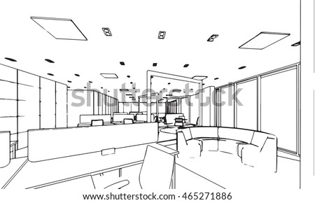 Interior Design Office Sketches interior outline sketch drawing perspective space stock vector