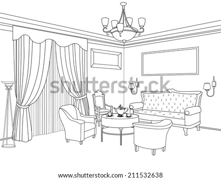 Interior Outline Sketch Furniture Blueprint Architectural