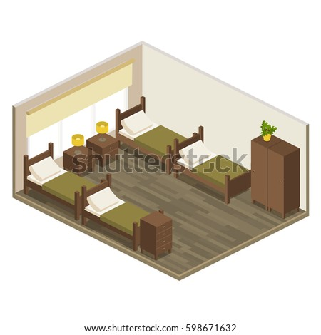 Interior room hostel in isometric. quadruple room hotel in flat 3D style with furniture 4 beds, window, bedside table, wardrobe, chest of drawers. vector illustration of isolated layers