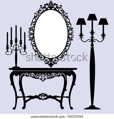 Interior scene with antique furniture, old mirror, candelabra and console. - stock vector