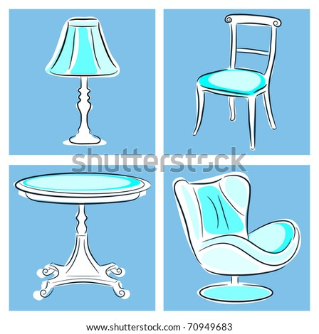 Interior set with furniture and lighting - stock vector