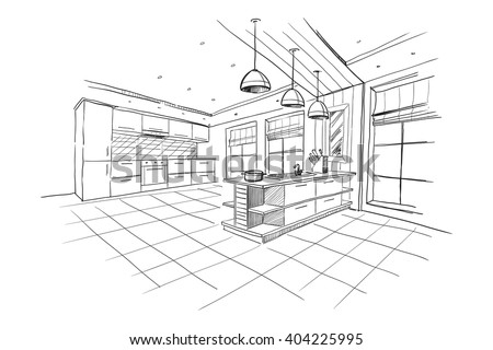 Interior Sketch Of Modern Kitchen With Island