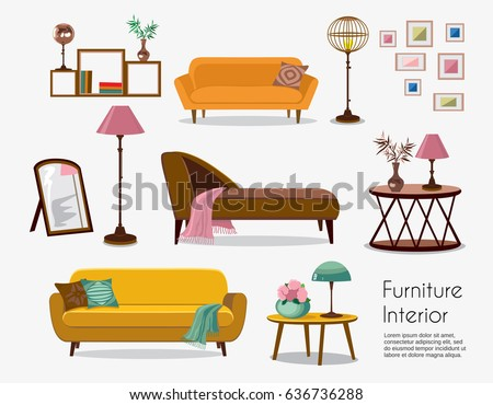 Interior sofa sets home accessories furniture stock vector for Living room furniture layout worksheet