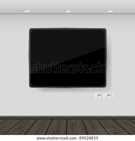 interior. wall with tv and parquet. vector illustration. Best choice - stock vector