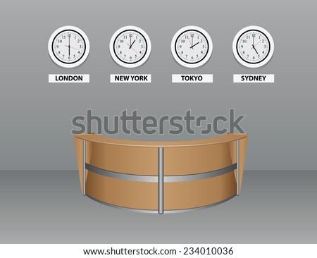Interior with an oval table for visitors with time zones. Vector illustration. - stock vector