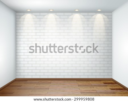 interior with empty white room with white brick wall and wooden floor