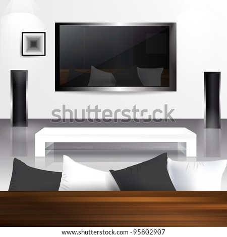 Interior with LCD tv screen with reflection living room in it. - stock vector