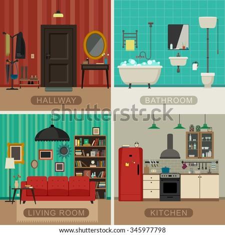 Interiors Living Room Kitchen Bathroom Hall Stock Vector