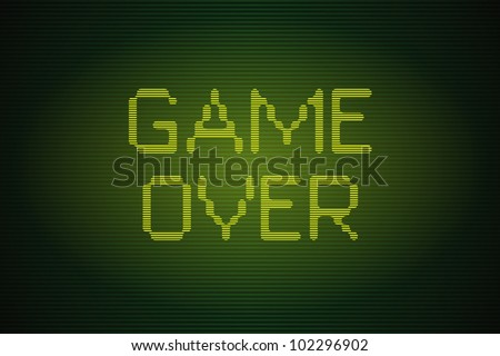 Interlaced old computer game over screen - stock vector