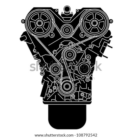Internal combustion engine, as seen from in front. Vector illustration. - stock vector