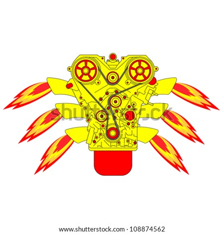 Internal combustion engine, with fire from the exhaust pipe. Vector illustration. - stock vector