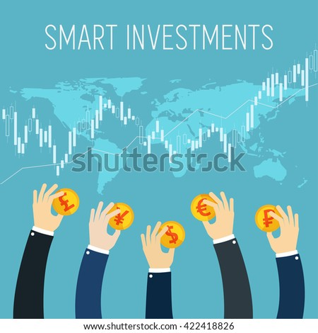 International business flat illustration. Smart investment. Businessman hands holding gold coins. Successful Trader. Stock trade. Foreign currency money exchange. Stock market.  - stock vector