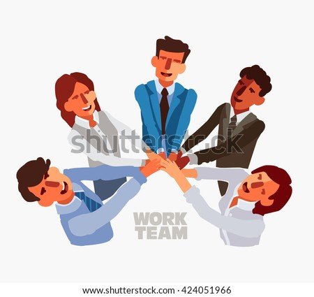 International business team in a meeting with their hands together  - stock vector