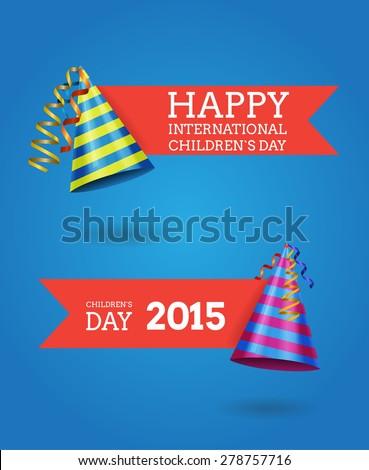 International children`s day vector labels