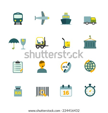 International coordination logistics 24 hours worldwide container delivery service flat icons internet symbols pictograms collection isolated vector illustration - stock vector
