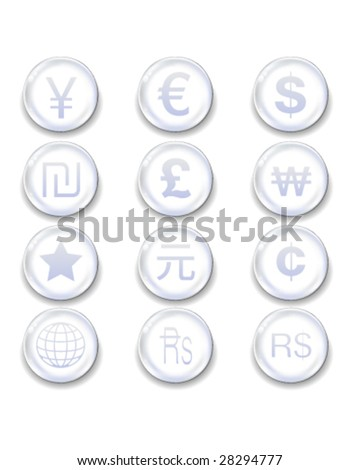 International currency icons on glass orb vector button set - stock vector