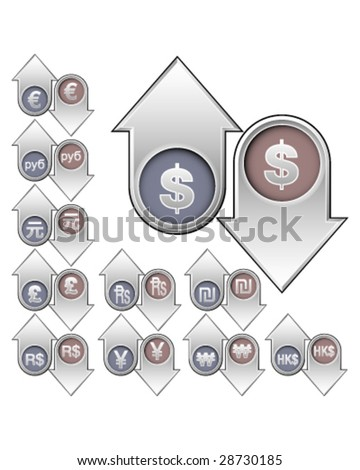 International currency icons on vector up and down arrow buttons to indicate rising or falling value and price - for print, web, advertising, or promotion - stock vector