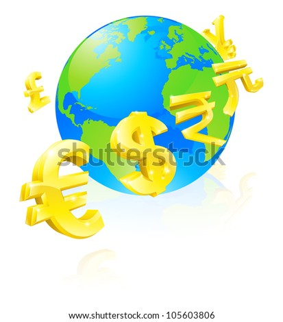 International currency signs flying around a world globe - stock vector