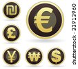 International currency symbol icon set on brown and gold round vector buttons.  Suitable for web, print, or promotional use. - stock vector