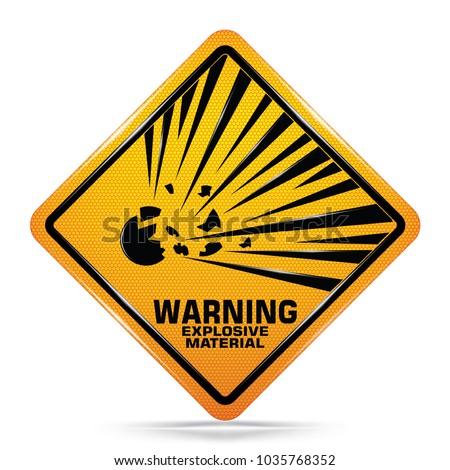 International Explosive Material Hazard Symbol Yellow Stock Vector
