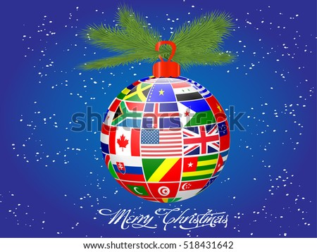 International flags Christmas ball.Vector