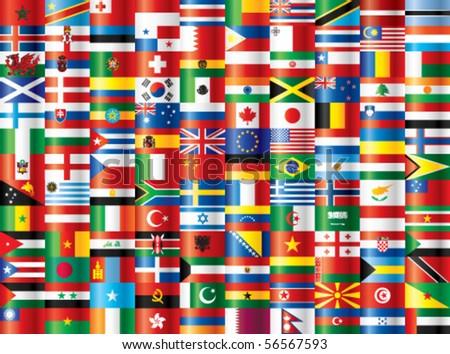 International flags vector. 130 flags. - stock vector