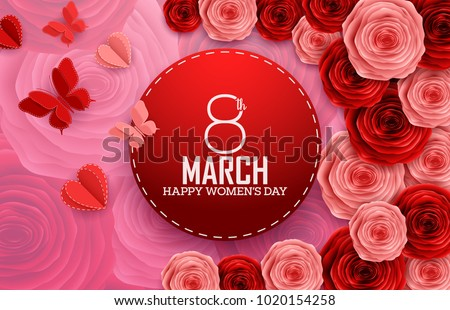 International happy womens day paper cutting stock vector 1020154258 international happy womens day with paper cutting butterflies roses and red round sign on flowers mightylinksfo