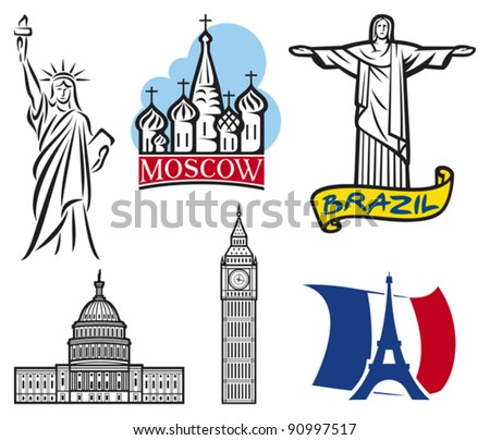international historical landmark monuments (Eiffel Tower, Big Ben, Statue of Liberty, U.S. Capitol, St. Basil's Cathedral in Red Square - Moscow, Christ the Redeemer statue in Brazil, landmarks set) - stock vector