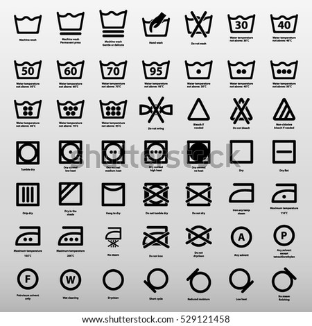 International Laundry Washing Instructions Icon Set