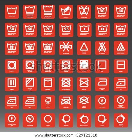 International Laundry Washing Instructions Icon Set Stock Vector