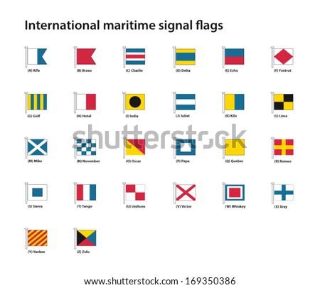 international maritime signal flags - stock vector