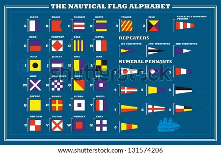 International maritime signal flags - sea alphabet , vector illustration - stock vector