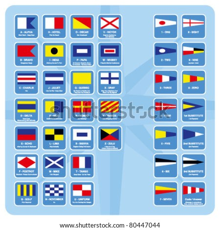 International nautical flags with descriptions - stock vector