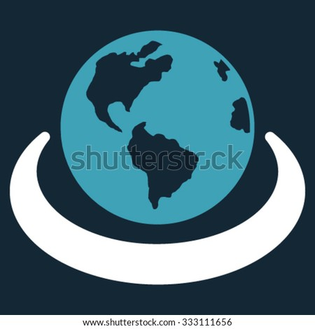 International Network vector icon. Style is bicolor flat symbol, blue and white colors, rounded angles, dark blue background. - stock vector