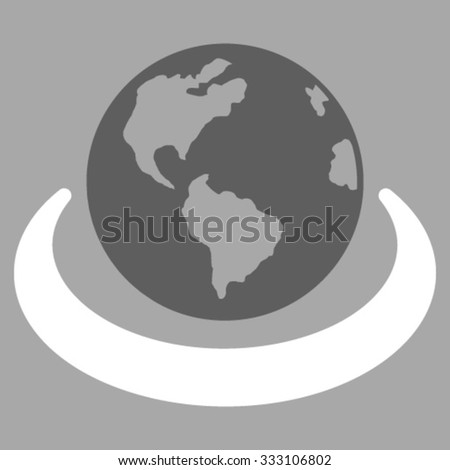 International Network vector icon. Style is bicolor flat symbol, dark gray and white colors, rounded angles, silver background. - stock vector
