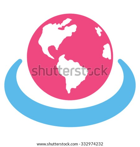 International Network vector icon. Style is bicolor flat symbol, pink and blue colors, rounded angles, white background. - stock vector