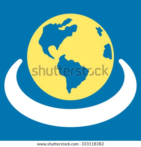 International Network vector icon. Style is bicolor flat symbol, yellow and white colors, rounded angles, blue background. - stock vector