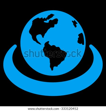International Network vector icon. Style is flat symbol, blue color, rounded angles, black background. - stock vector