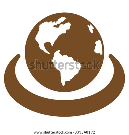 International Network vector icon. Style is flat symbol, brown color, rounded angles, white background. - stock vector