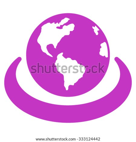 International Network vector icon. Style is flat symbol, violet color, rounded angles, white background. - stock vector