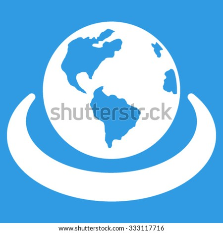 International Network vector icon. Style is flat symbol, white color, rounded angles, blue background. - stock vector