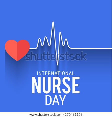 International nurse day concept with illustration of heart with heartbeat.. - stock vector