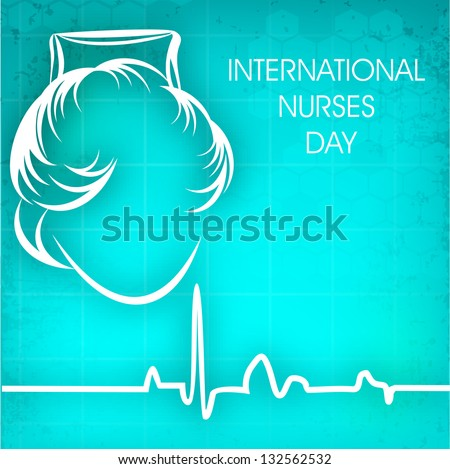 International nurses day concept with illustration of a nurse on cardiogram background. - stock vector