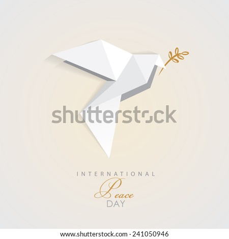 international peace day vector illustration of white origami dove bird with golden olive branch- peace symbol- flat design style - stock vector