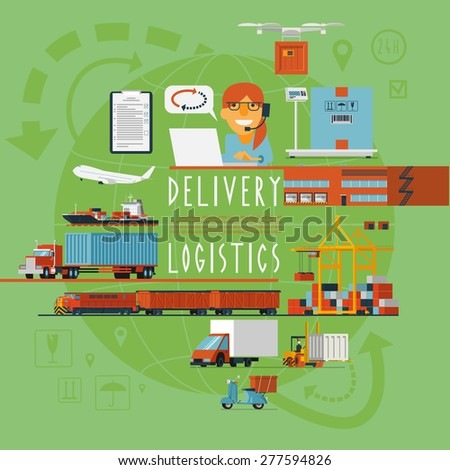 International rail air and ocean freight transportation management worldwide logistics company operations concept poster abstract vector illustration - stock vector