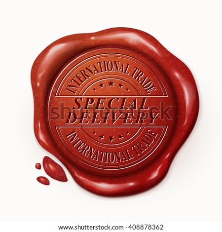 international trade special delivery 3d illustration red wax seal over white background