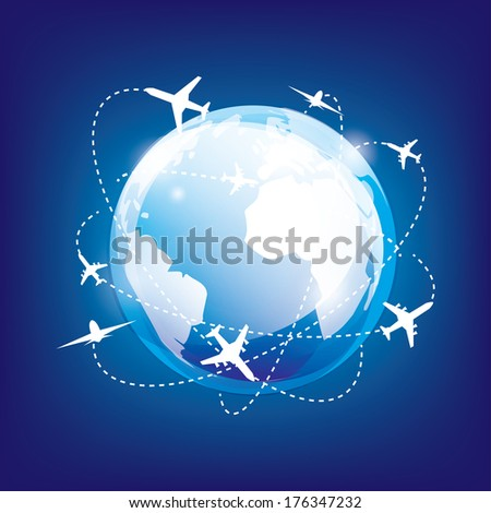 international traveling by airplane, glossy earth in space and planes - stock vector